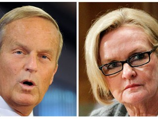 PHOTO: This photo combo shows U.S. Rep. Todd Akin, R-Mo., left, and Sen. Claire McCaskill, D-Mo.