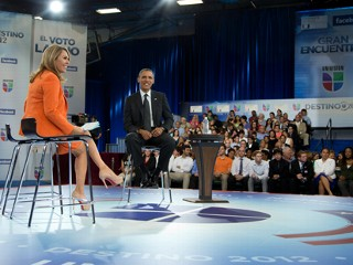 PHOTO: President Obama appeared on Univision to talk about issues of importance to Latino voters