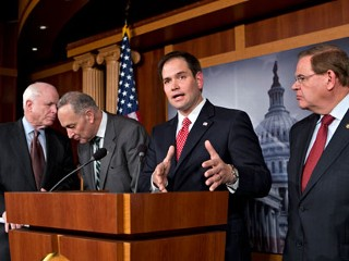 PHOTO: In this Jan. 28, 2013, file photo Sen. Marco Rubio, R-Fla., center, speaks at a Capitol Hill news conference on immigration legislation with a members of a bipartisan group of leading ...