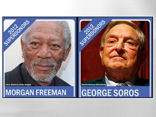 PHOTO: Morgan Freeman and George Soros are among the new breed of political superdonors.