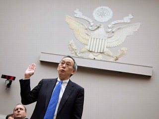 PHOTO: Energy Secretary Steven Chu is sworn in on Capitol Hill in Washington, Nov. 17, 2011, prior to testifying before the House Oversight and Investigations subcommittee hearing on the Solyndra ...