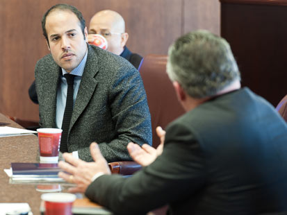 Khamis Gadhafi pictured at a meeting with Port of Houston Authority executives during a visit in January 2011.