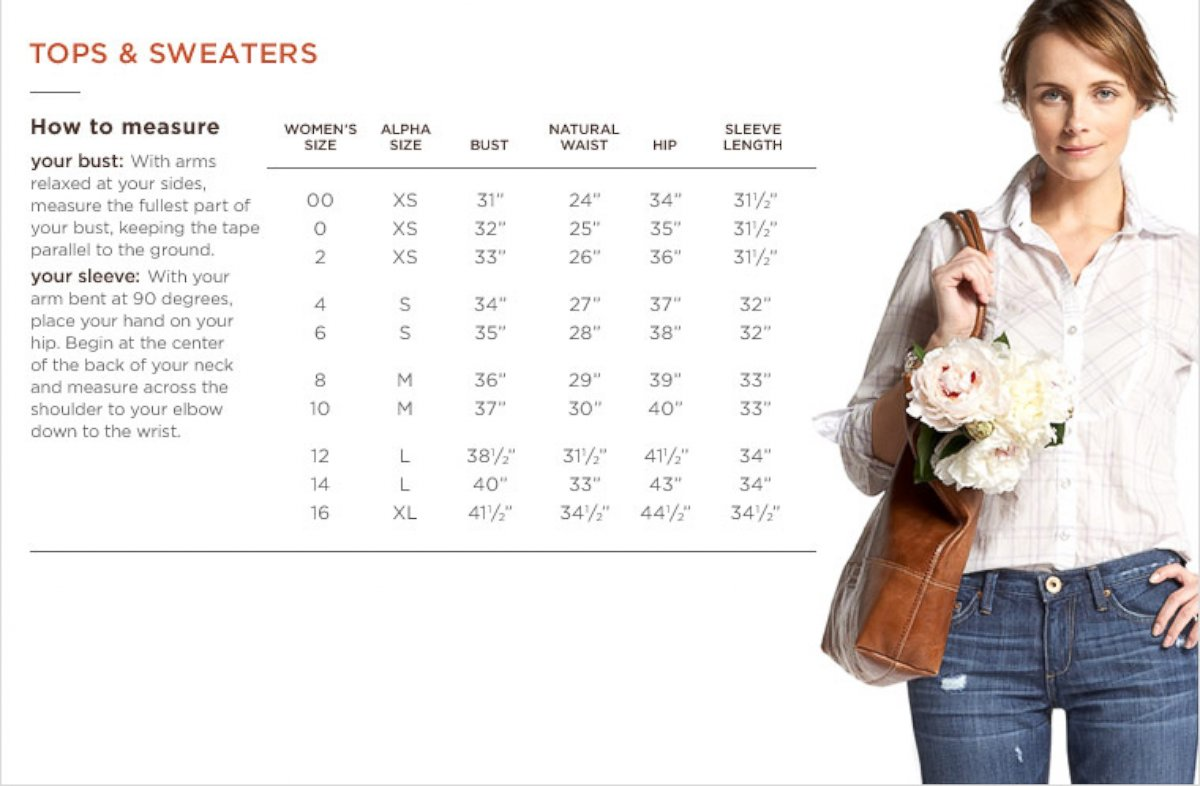 Photo banana republic s sizing chart for tops and sweaters abc news