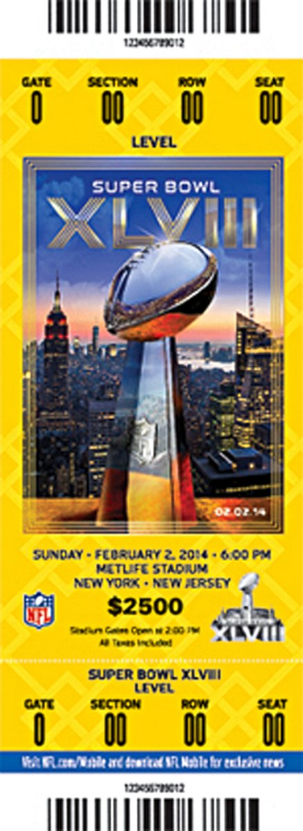 2015 SUPER BOWL 4 TICKETS LOWER LEVEL