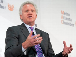 "PHOTO: Jeffrey Immelt, chief executive officer of General Electric Co., speaks at the Metro Atlanta Chamber of Commerce ""Insights on Leadership Breakfast"" in Atlanta, Georgia, U.S., Sept. 14, 2011."