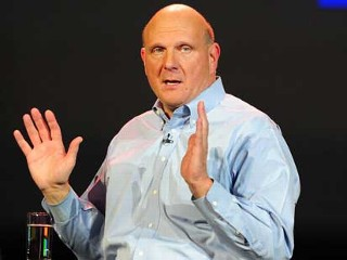 PHOTO: Microsoft CEO Steve Ballmer gestures during his keynote address for CES 2012 at the annual Consumer Electronics Show, Jan. 9, 2012 in Las Vegas, Nevada.