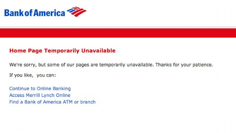 ht bank america down page nt 110930 wblog Bank of America Site Crashes, Day After $5 Debit Fee Rule