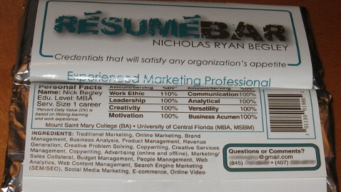 ht resume candybar kb 130222 wblog NY Mans Candy Bar Resume Lands Job