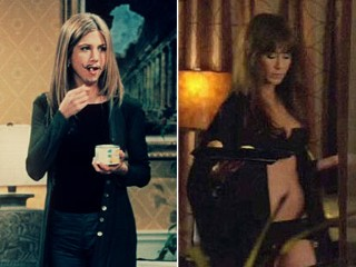 "PHOTO: Jennifer Aniston in ""Friends,"" left, and in her new provocative role in ""Horrible Bosses."""