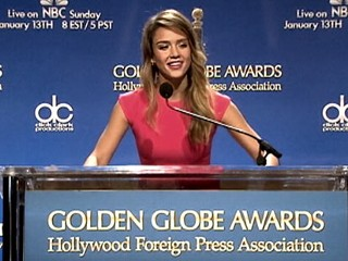 PHOTO: Jessica Alba announces the nominees for the 2012 Golden Globes.