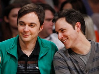 PHOTO: Actor Jim Parsons, left, and Todd Spiewak, pose as they sit courtside at the NBA basketball game between the Portland Trail Blazers and Los Angeles Lakers Friday, March 23, 2012, in Los ...