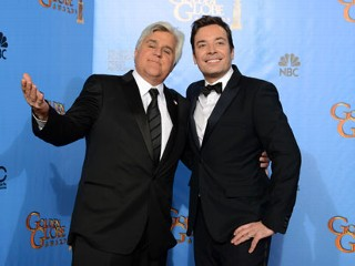 "PHOTO: This Jan. 13, 2013 file photo shows Jay Leno, host of ""The Tonight Show with Jay Leno,"" left, and Jimmy Fallon, host of ""Late Night with Jimmy Fallon"" backstage at the 70th Annual Golden Globe ..."