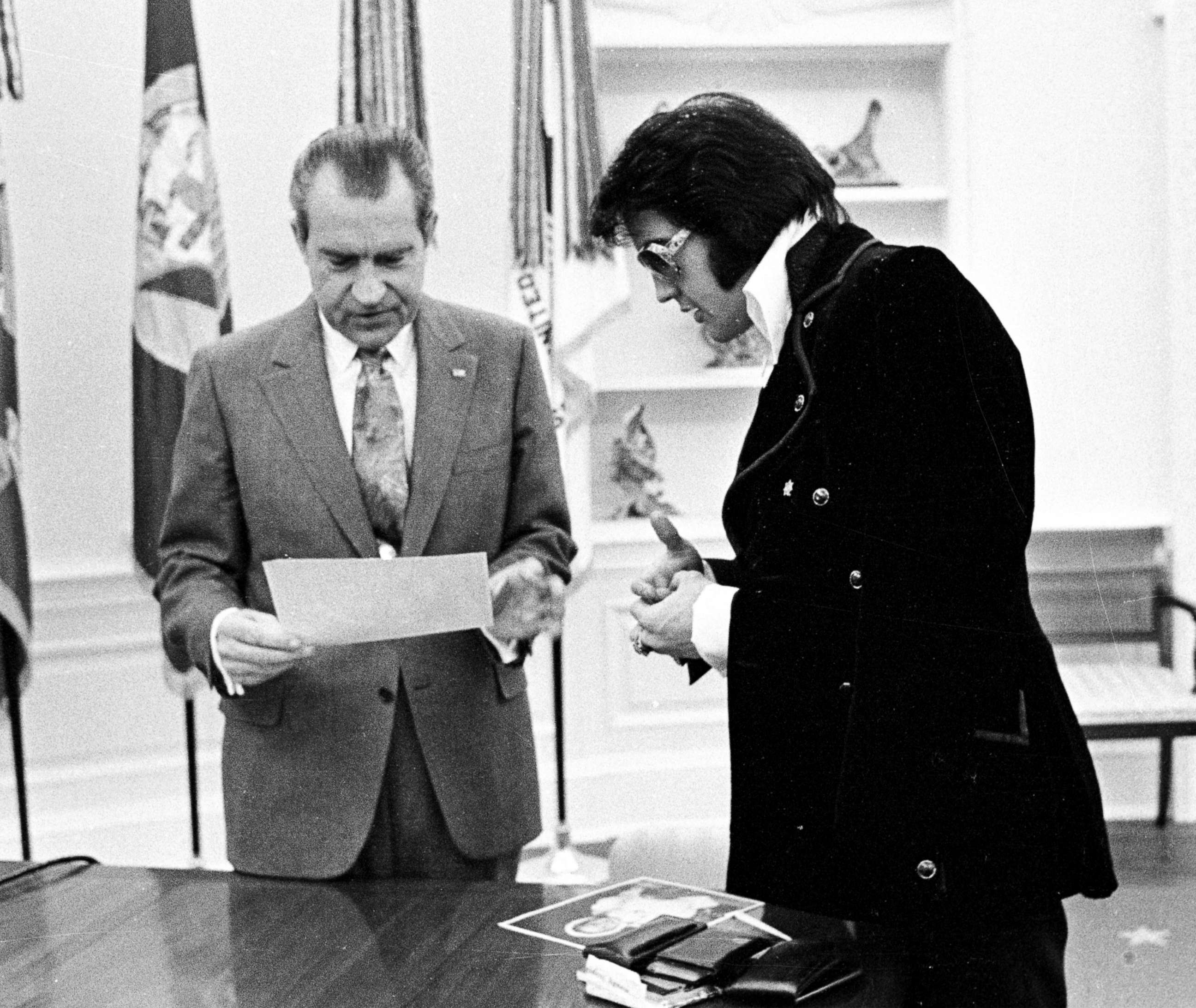 President Richard Nixon meets with Elvis Presley in the Oval Office of the White House, Dec. 21, 1970, in Washington.