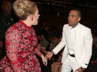 PHOTO: Singer Adele and singer Chris Brown attend the 55th Annual GRAMMY Awards at Staples Center on February 10, 2013 in Los Angeles, California.