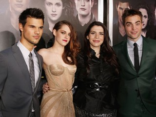"PHOTO: Taylor Lautner, Kristen Stewart, author Stephenie Meyer and actor Robert Pattinson arrives at ""The Twilight Saga: Breaking Dawn - Part 2"" Los Angeles premiere at Nokia Theatre L.A. Live on ..."