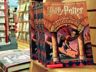 PHOTO: Copies of author J. K. Rowling's Harry Potter series story books sit in a bookstore July 6, 2000 in Arlington, Va.