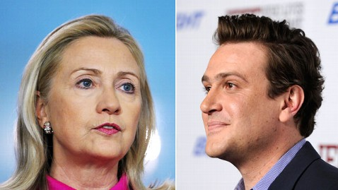 gty hillary clinton segal jrs 120502 wblog Hillary Clinton Turns Down Jason Segel Movie Offer ... For Now