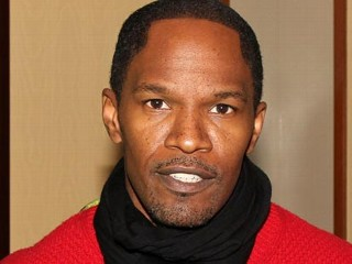"PHOTO: Jamie Foxx poses backstage at the hit musical ""Spider-Man: Turn Off The Dark"" on Broadway at The Foxwoods Theater on Dec. 14, 2012, in New York City."