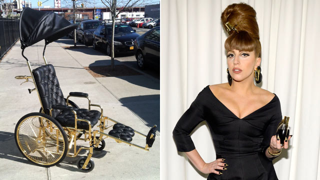 gty lady gaga wheelchair 130314 wmain Lady Gagas 24 Karat Gold Wheelchair