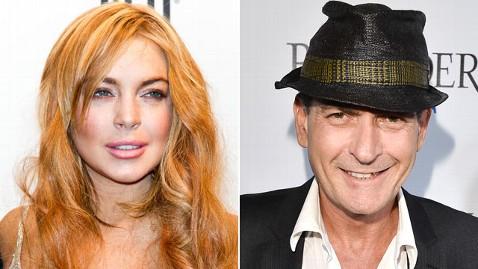 gty lindsay lohan sheen dm 130304 wblog Charlie Sheen Wants to Be Lindsay Lohans Mentor