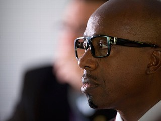 PHOTO: Musician MC Hammer, also known as Stanley Burrell, listens to a panel discussion inside the Bloomberg Link during day three of the Democratic National Convention (DNC) in Charlotte, N.C., on ...
