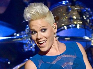 Singer Pink in Sheer Blue Top