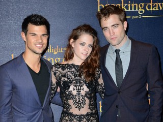 "PHOTO: (L-R) Taylor Lautner, Kristen Stewart and Robert Pattinson attend the UK Premiere of ""The Twilight Saga: Breaking Dawn - Part 2"" at Odeon Leicester Square on Nov. 14, 2012 in London."
