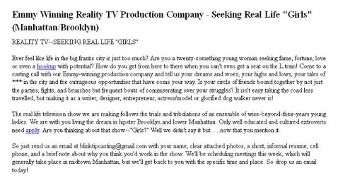 ht craigslist girls kb 130123 wblog Girls Reality Show in the Works