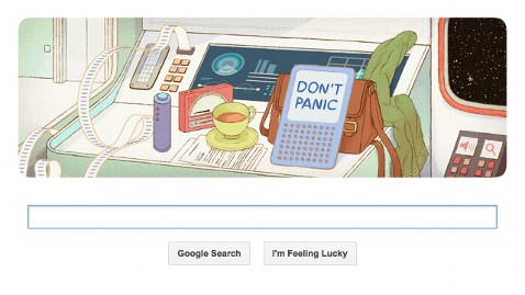 ht douglas adams google doodle ll 130311 wblog Dont Panic! Google Doodle Honors Author Douglas Adams