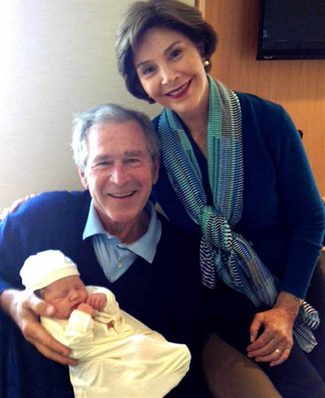 ht george w bush laura bush granddaughter mila thg 130415 wblog First Photos: Meet Jenna Bush Hagers New Baby, Mila!