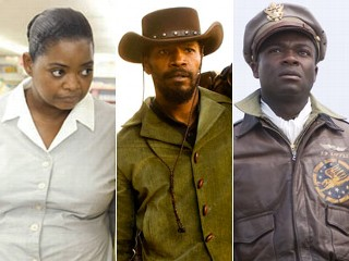 "PHOTO: From left, Octavia Spencer in ""The Help"", Jamie Foxx in ""Django, unchained"" and Cuba Gooding Jr. ""Red Tails""."