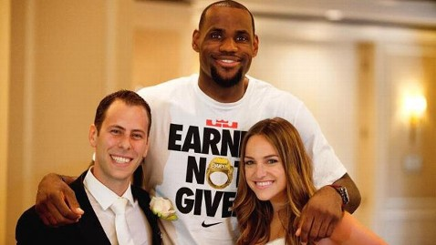 ht lebron james wedding nt 120525 wblog Bride and Groom Get Money Shot With LeBron James