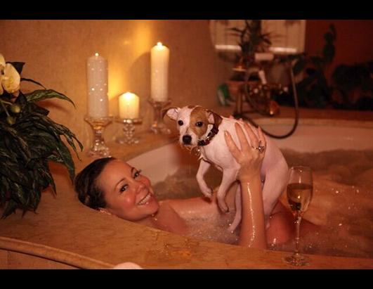 Mariah Carey's Dog Crashes Her Bubble Bath