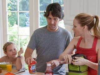 "PHOTO: Leslie Mann, right, and Paul Rudd are seen in a scene from their new movie, ""This Is 40."""