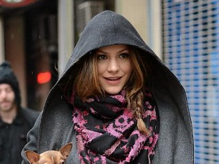 Katharine McPhee Walk in the Rain with her Dogs