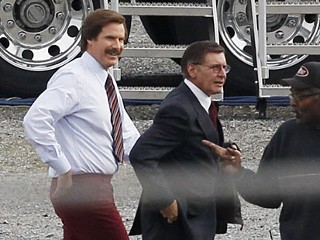 PHOTO: Harrison Ford and Will Ferrell on set of 'Anchorman' sequel