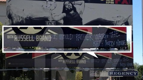 tmz russell brand billboard wy 120628 wblog Russell Brand Talk Show Billboard Vandalized by Katy Perry Fan
