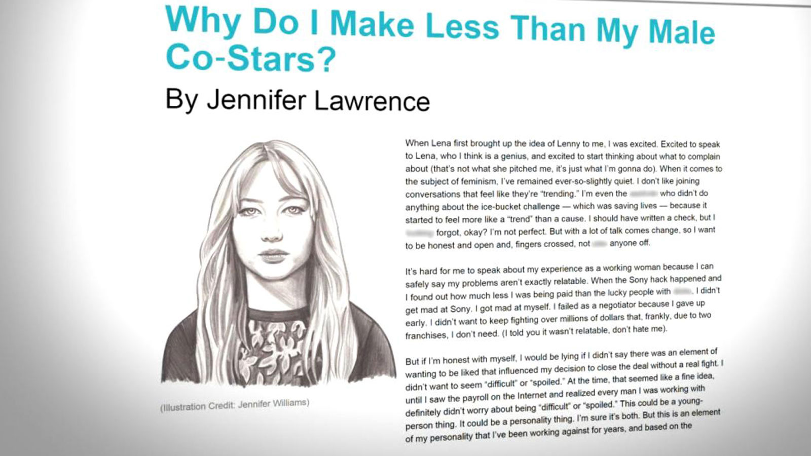 Wage Equality Essay Jennifer Lawrence