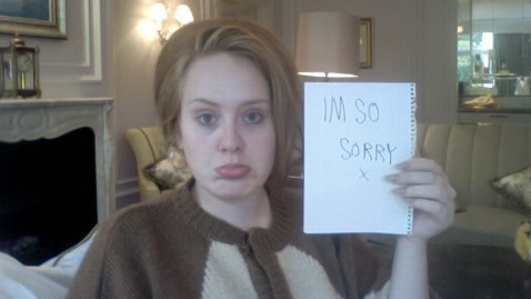 ht adele im sorry sign nt 120210 wblog Celebrity Voices Saved by Surgery