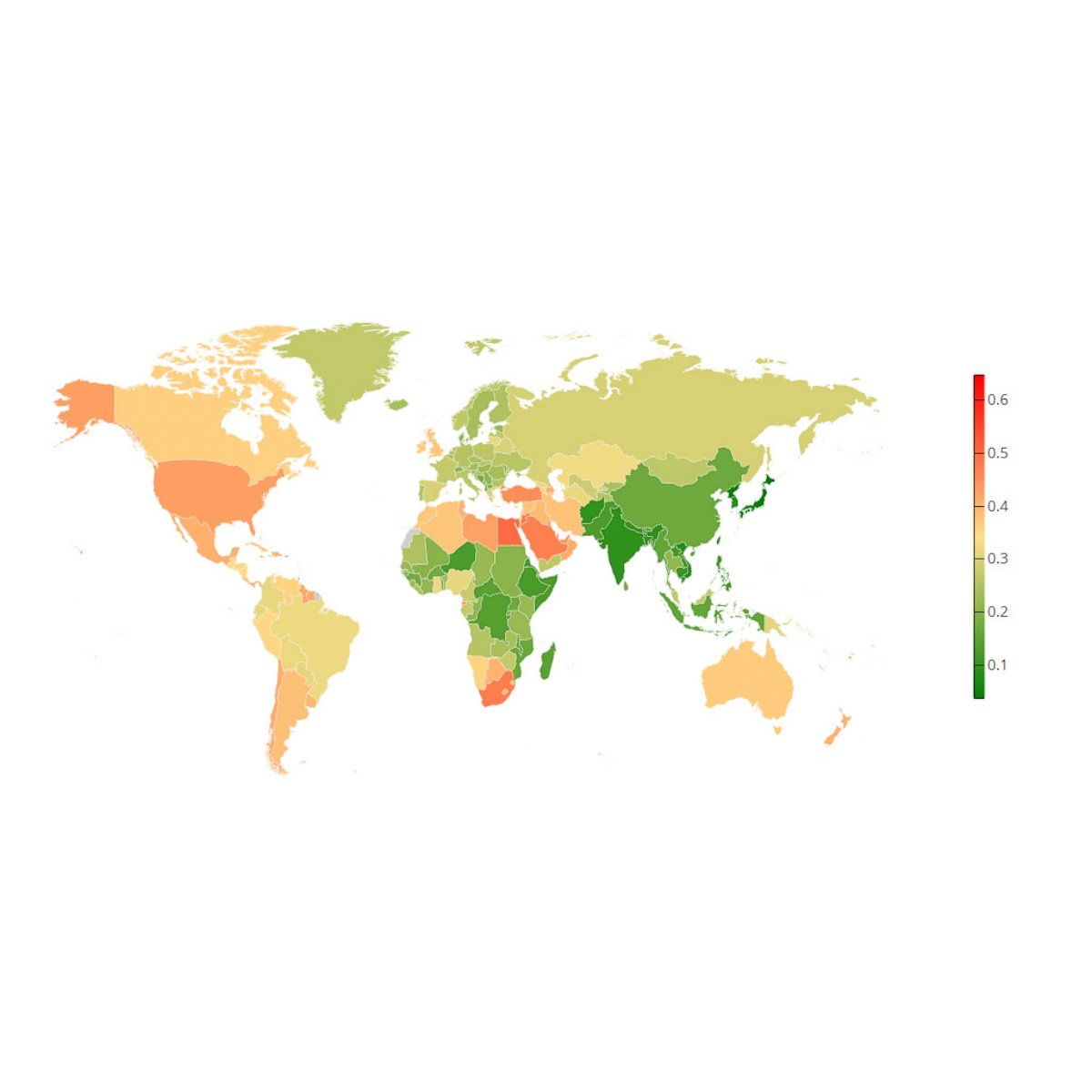 PHOTO: NCD-RisC has released this world map showing a projection of ...