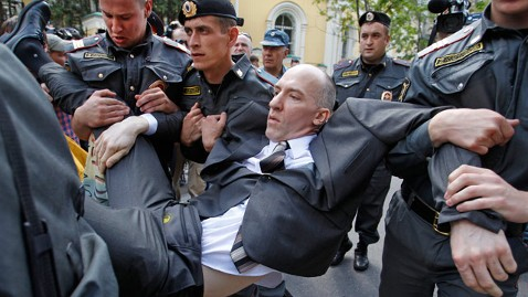 AP Russia Gay Rights jt 120527 wblog Gay Activists Detained While Demanding Right to Hold Parade