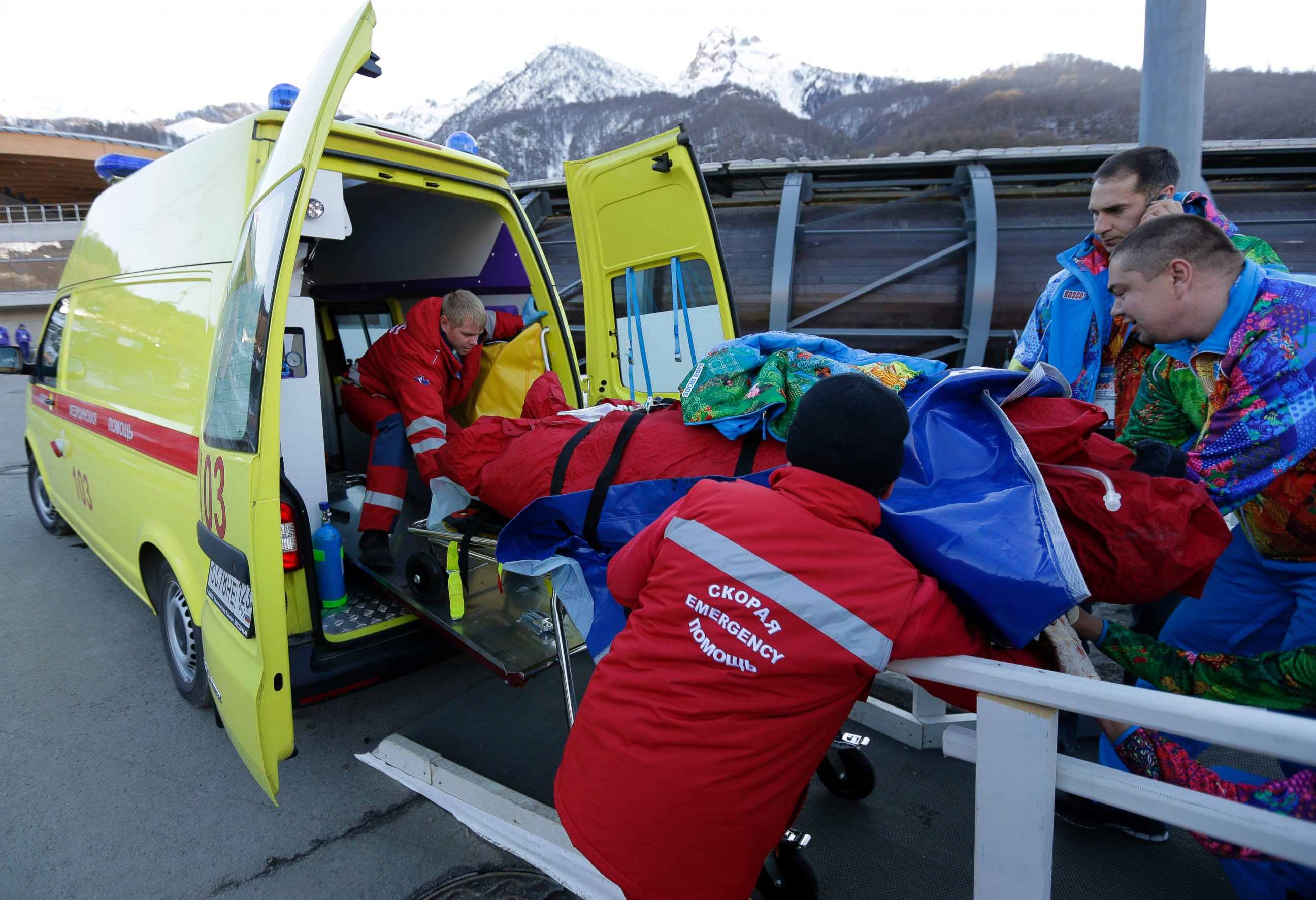 AP sochi bobsled accident tk 140213 Olympic Bobsled Slams into Track Worker