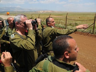 PHOTO: The IDF's Chief of Staff Benjamin (Benny) Gantz conducted this morning an inspection on the Israeli Syrian border. He was joined by the CO Northern command Maj. Gen Yair Golan and the ...