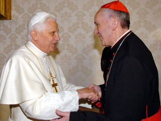 PHOTO: Former Pope Benedict XVI, left, shakes hands with the archbishop of Buenos Aires Cardinal Jorge Mario Bergoglio during their meeting at the Vatican, Jan. 13, 2007.