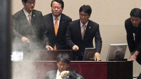 ap south korea tear gas dm 111122 wblog South Korea Tearfully Ratifies Free Trade Pact With the U.S.