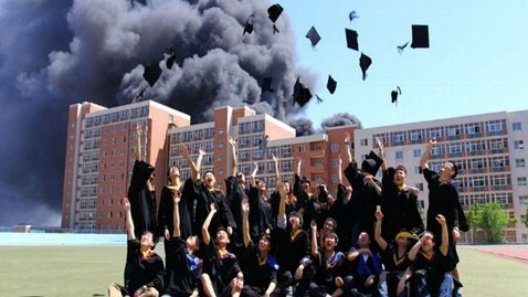 cen burning school jp 120530 wblog Chinese Students Leave University in The Dust...Literally