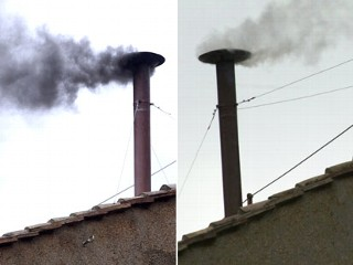 PHOTO: Left, black smoke billows from the chimney on the roof of the Sistine Chapel indicating that the College of Cardinals have failed to elect a new Pope on March 13, 2013 in Vatican City, ...