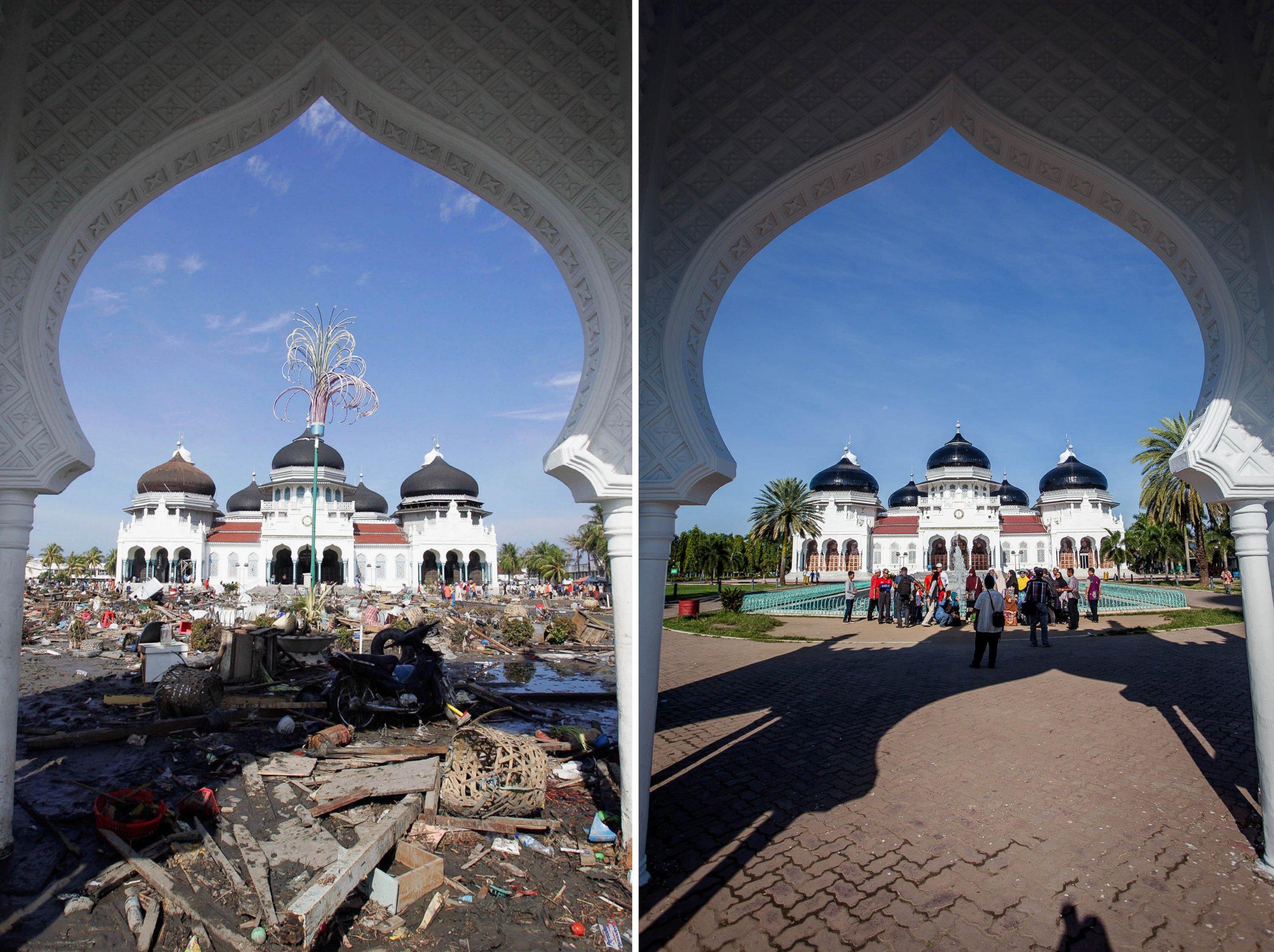 Foto Masjid Agung Baiturrahman pada 28 Desember 2004 (kiri) dan 11 Desember 2014. Foto: ABC News