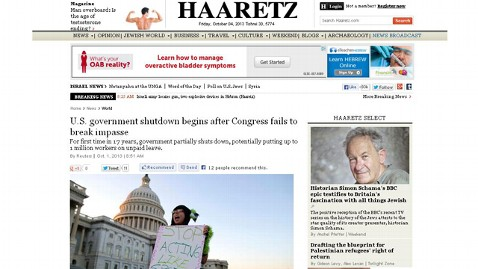 ht haaretz 1 nt 131004 wblog Headlines: US Government Shuts Down, World Says, Meh