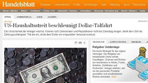 ht handelsblatt nt 131004 wblog Headlines: US Government Shuts Down, World Says, Meh